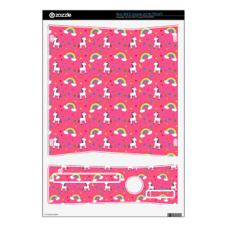 Pink rainbow unicorn hearts stars pattern skin for xbox 360 s