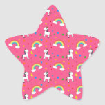 Pink rainbow unicorn hearts stars pattern star sticker