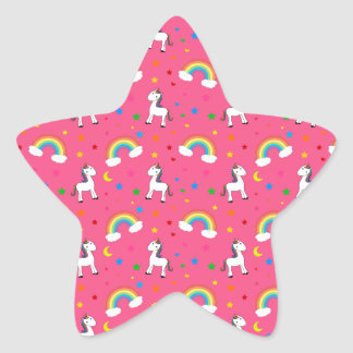 Pink rainbow unicorn hearts stars pattern star sticker