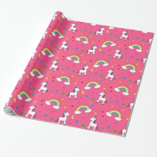 Pink rainbow unicorn hearts stars pattern wrapping paper