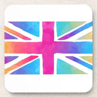Pink Rainbow Watercolor British Flag Beverage Coaster