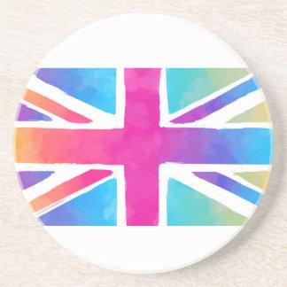 Pink Rainbow Watercolor British Flag Coaster