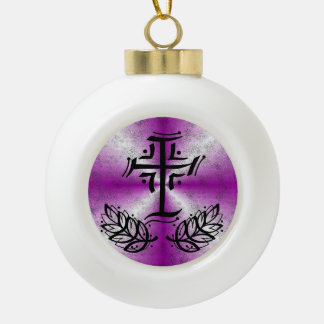 Pink Rainbow with Crucifix and Laurel Ceramic Ball Christmas Ornament