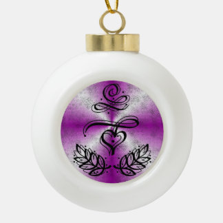 Pink Rainbow with Heart and Laurel Ceramic Ball Christmas Ornament