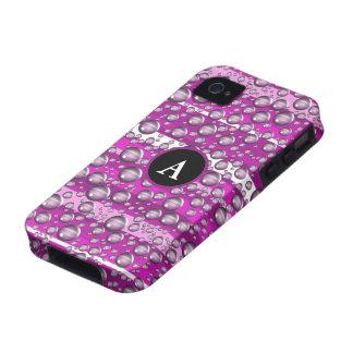 pink raindrops monogram Case-Mate iPhone 4 cases