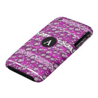 pink raindrops monogram Case-Mate iPhone 3 case