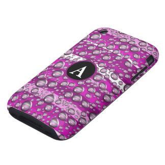 pink raindrops monogram iPhone 3 tough covers