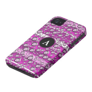 pink raindrops monogram iPhone 4 cover