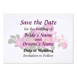 Pink Rambler Rose Save the Date 5x7 Paper Invitation Card