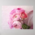 pink ranunculus bouquet poster