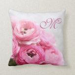 Pink ranunculus flowers throw pillow