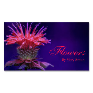 Pink Raspberry Wine Bee Balm Flower on Purple Magnetic Business Card