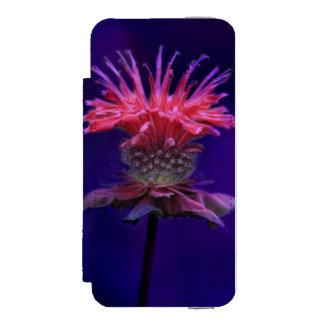 Pink Raspberry Wine Bee Balm Flower on Purple Wallet Case For iPhone SE/5/5s