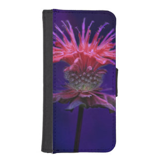 Pink Raspberry Wine Bee Balm Flower on Purple Wallet Phone Case For iPhone SE/5/5s