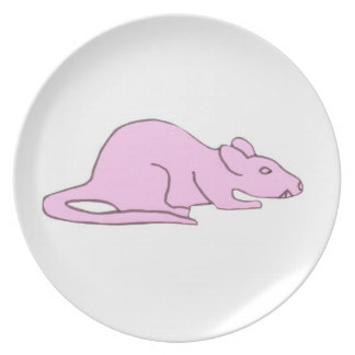 Pink Rat Mouse Plate