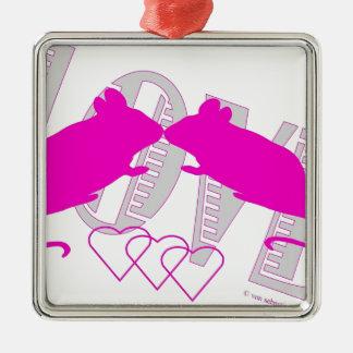 Pink ratón adorno navideño cuadrado de metal