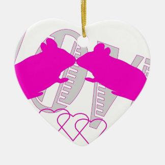Pink ratón adorno navideño de cerámica en forma de corazón