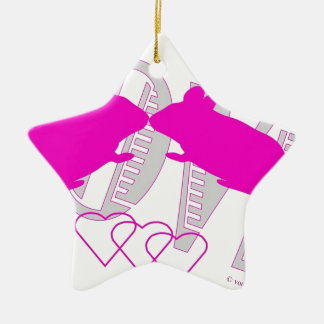 Pink ratón adorno navideño de cerámica en forma de estrella