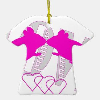 Pink ratón adorno navideño de cerámica en forma de playera