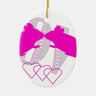 Pink ratón adorno navideño ovalado de cerámica