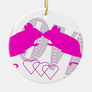 Pink ratón adorno navideño redondo de cerámica