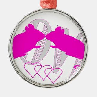 Pink ratón adorno navideño redondo de metal