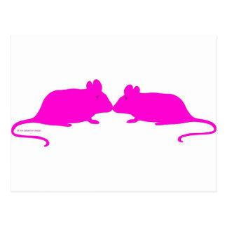 Pink ratón tarjeta postal