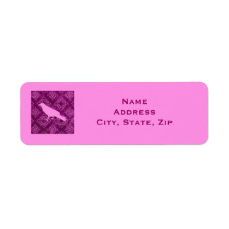 Pink raven on pink and purple damask personalized label