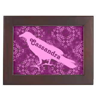Pink raven on pink and purple damask personalized memory box