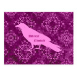 Pink raven on pink and purple geometric damask postcards