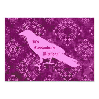 Pink raven personalized birthday card