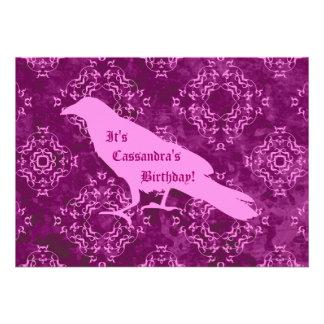 Pink raven personalized birthday invite