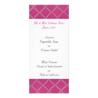 Pink Reception Menu Rack Cards