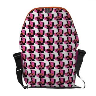 Pink Record Houndstooth Messenger Bag