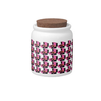 Pink Record Player Houndstooth Candy Jar