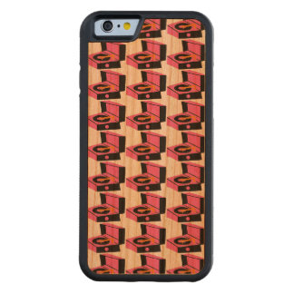 Pink Record Player Houndstooth iPhone Wood Case