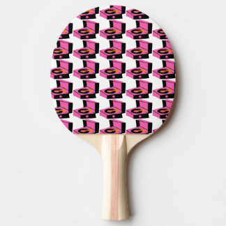 Pink Record Player Houndstooth Ping Pong Paddle