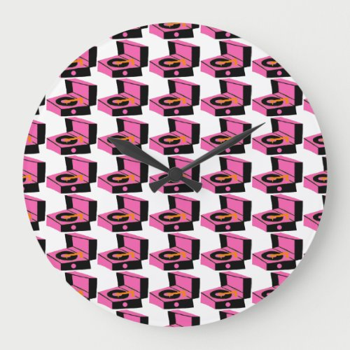 Pink Record Player Houndstooth Round Wall Clock
