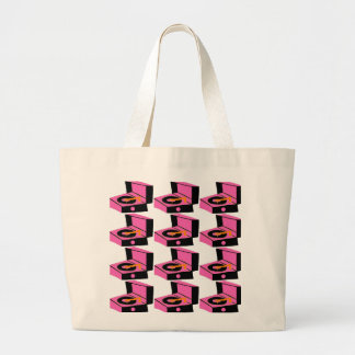 Pink Record Player Houndstooth Tote Bag