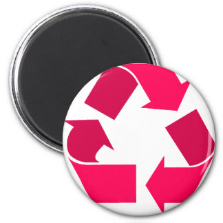 pink recycle symbol 2 inch round magnet
