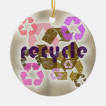 Pink Recycle Symbol Logo Ornament