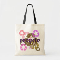 Pink Recycle Symbol Vintage Style Tote Bag