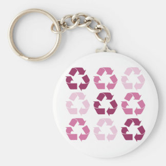 Pink Recycle Symbols Basic Round Button Keychain