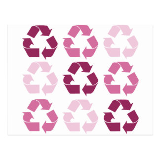 Pink Recycle Symbols Postcard