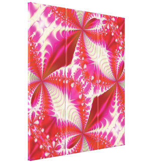 Pink Red and Cream Fractal Design Gallery Wrap Canvas
