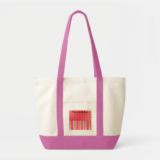 Pink, red and green christmas trees with stripes p tote bags