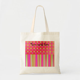 Pink, red and green christmas trees with stripes p canvas bag