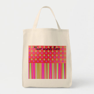 Pink, red and green christmas trees with stripes p canvas bags