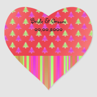Pink, red and green christmas trees with stripes p heart sticker