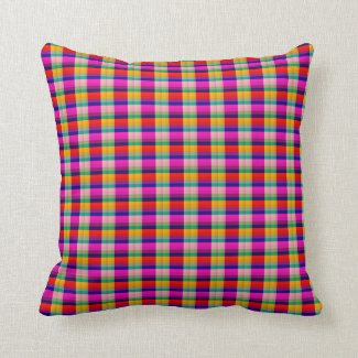 Pink, Red and Green Throw Pillow